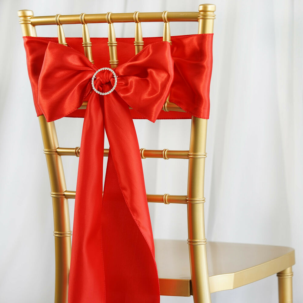 10 Red Satin Chair Sashes Ties Bows Wedding Ceremony