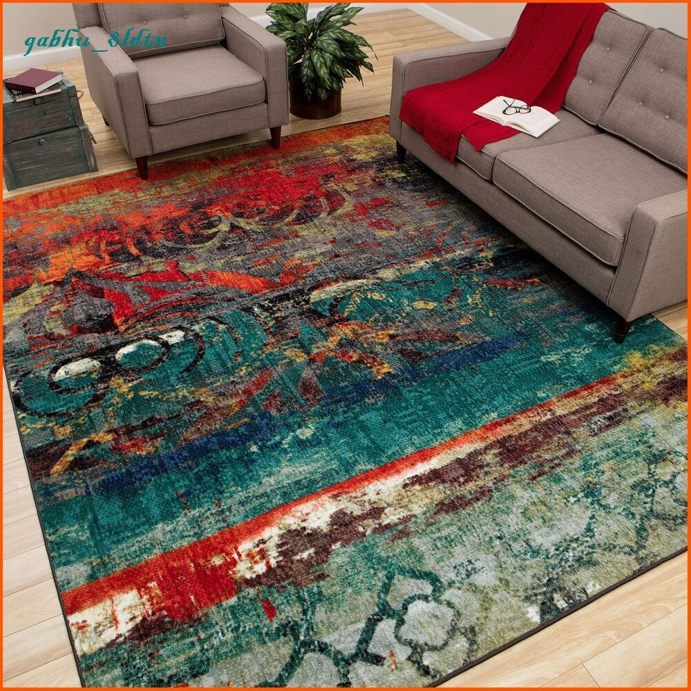 unique area rug multi color faded design bright bold teal blue red orange carpet ebay. Black Bedroom Furniture Sets. Home Design Ideas