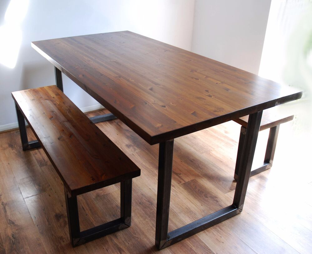 Industrial vintage rustic dining kitchen table bench set solid wood steel ebay - Steel kitchen tables ...
