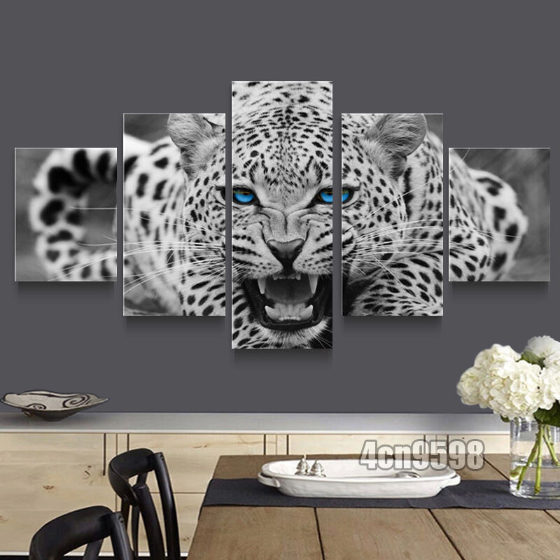 Hd Canvas Print Home Decor Wall Art Painting White Leopard 5pc No Frame 001 Ebay