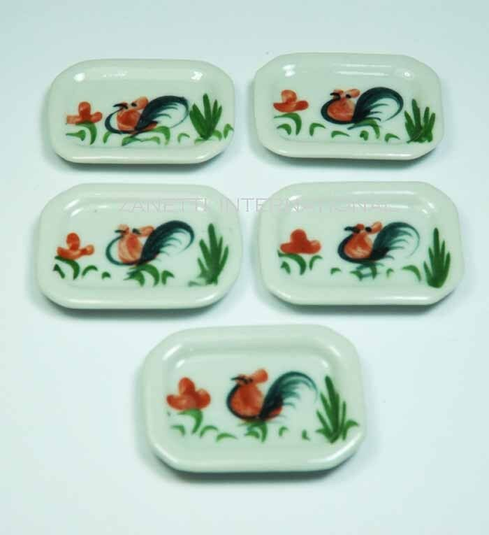 Set Of 5 Dollhouse Miniature Ceramic Plates * Doll Mini