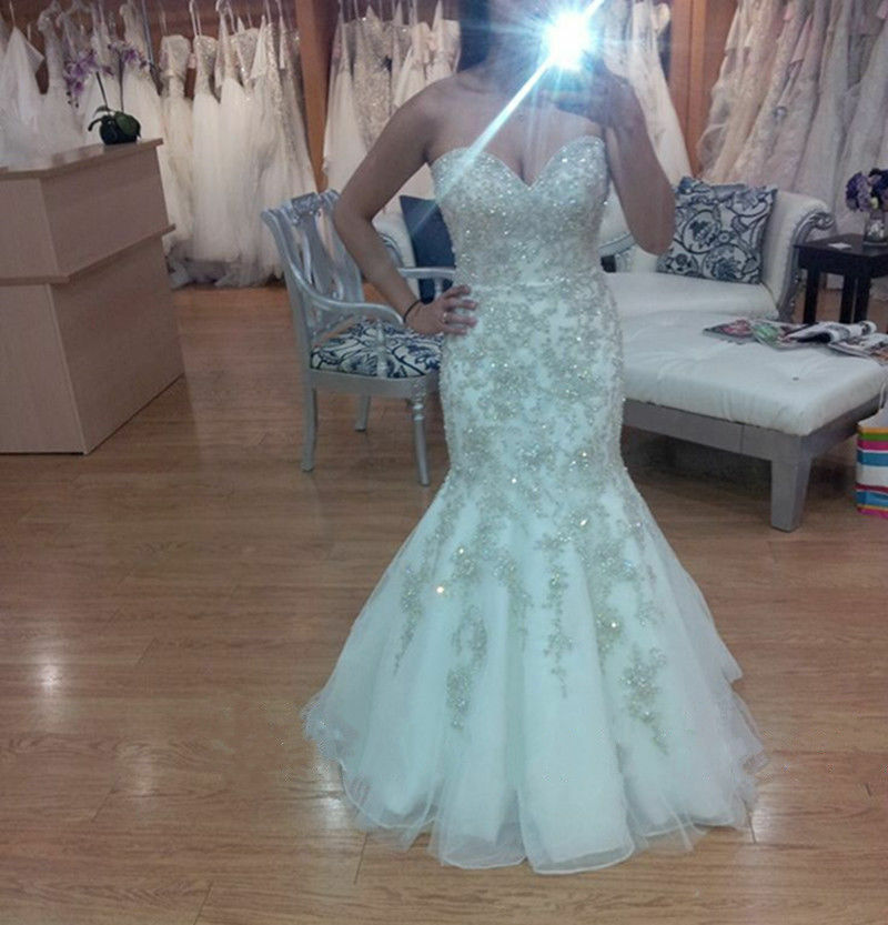 Crystal Wedding Gown: Shiny Mermaid Wedding Dresses Crystal Rhinestone