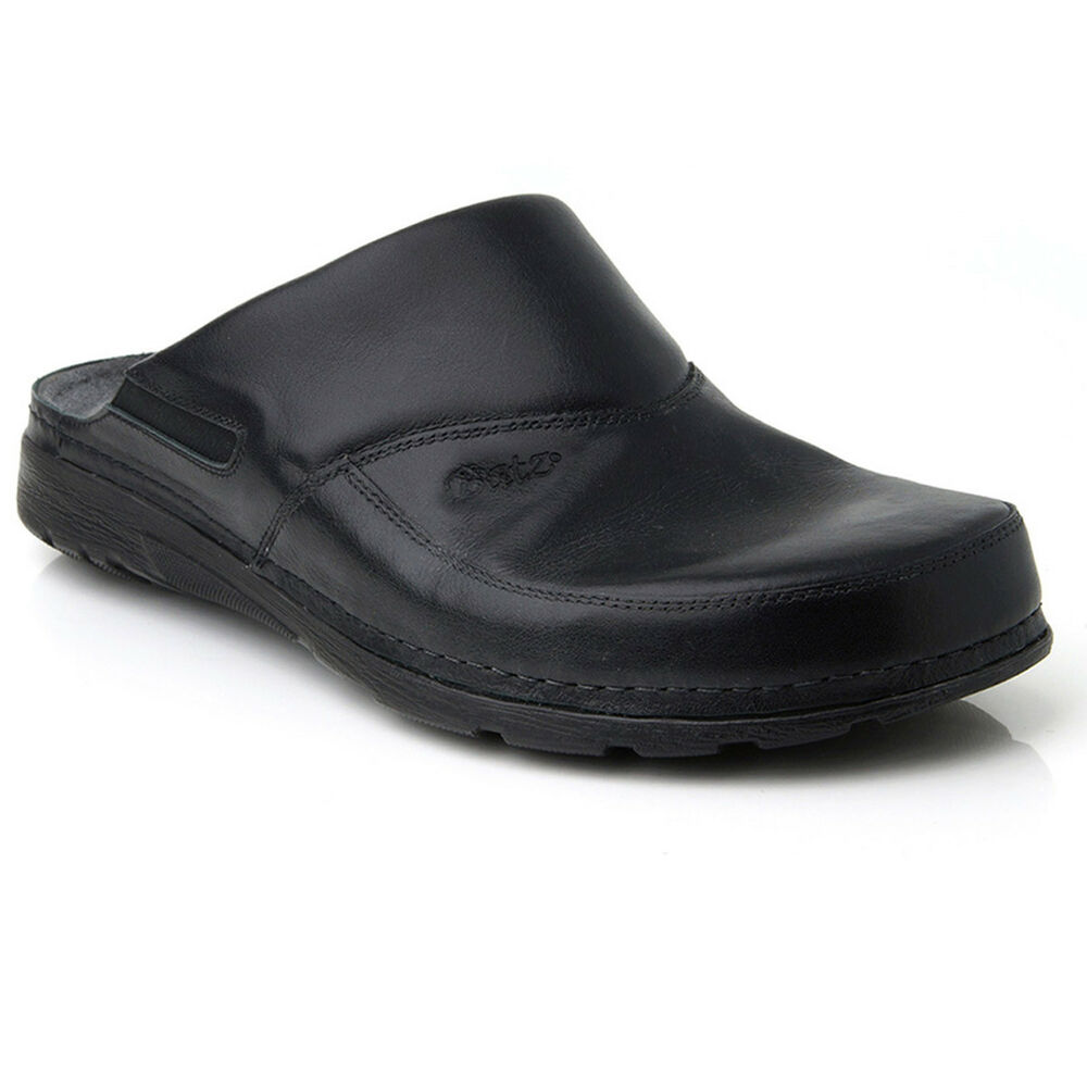 Mens Leather Slippers Slip On Shoes Sandals