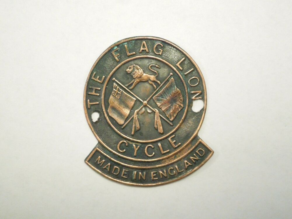 vintage the flag lion cycle made in england bicycle head