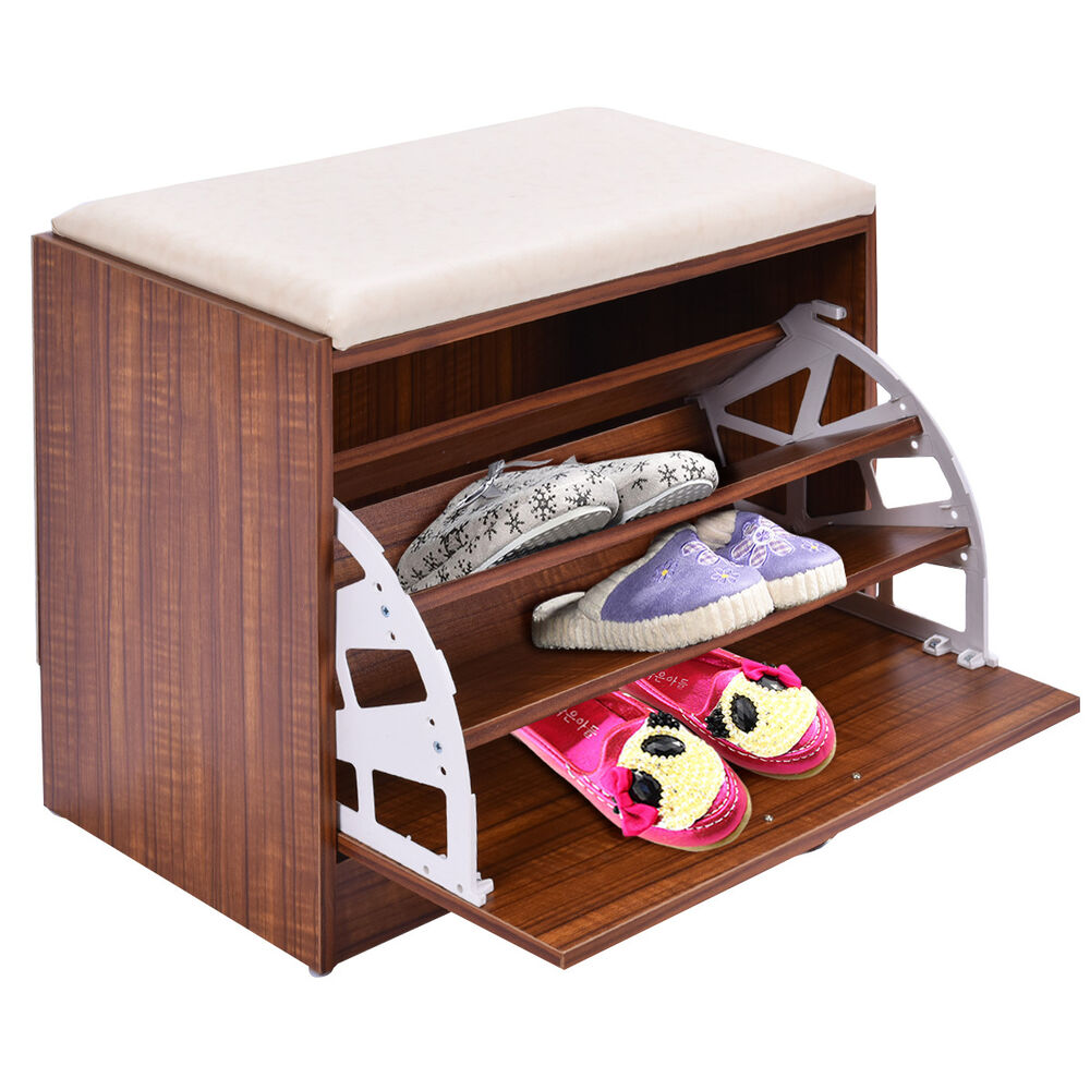 Shoe Cabinet Storage Closet Organizer Ottoman Bench Shelf Entryway W Handle Ebay