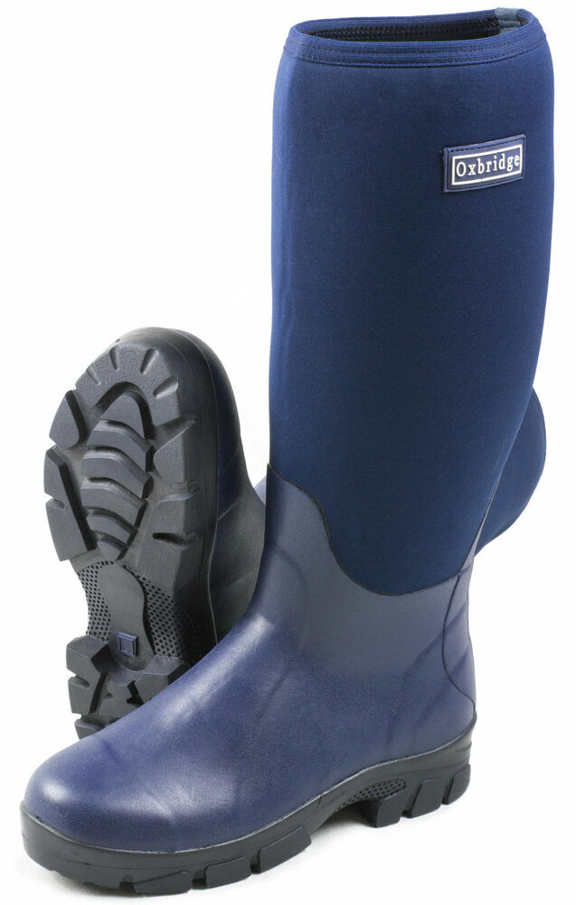 Oxbridge navy waterproof neoprene wellington boots fishing for Waterproof fishing boots