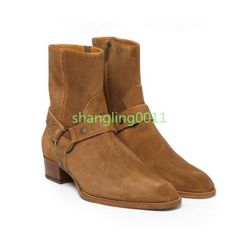 Mens Pointed Toe Genuine Leather Suede Buckle Ankle Knight