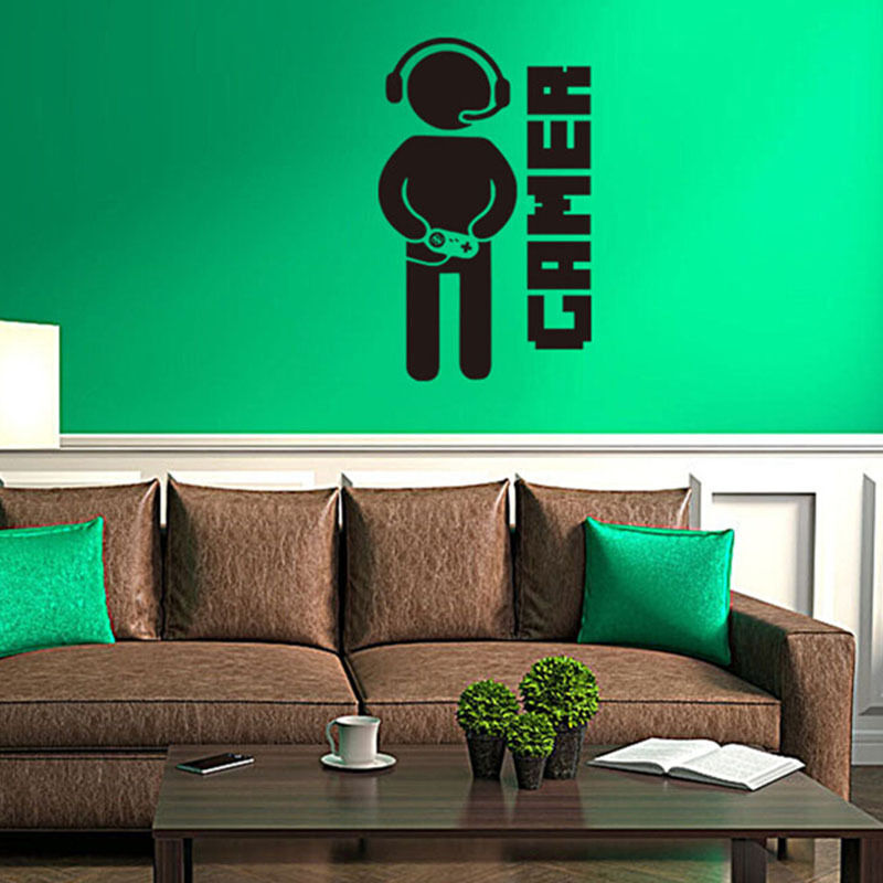 Wall stickers video games joystick gamer decor for play Free play home decoration games