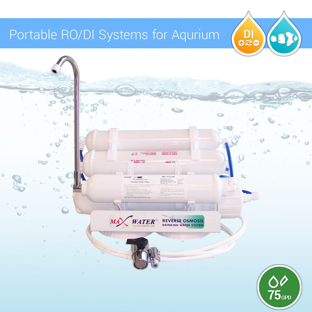 5 Stage 75 Gpd Ro Di 0ppm Portable Aquarium Reverse