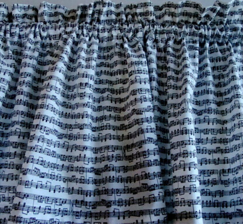 Valance Music Theme White With Black Sheet Music Curtain