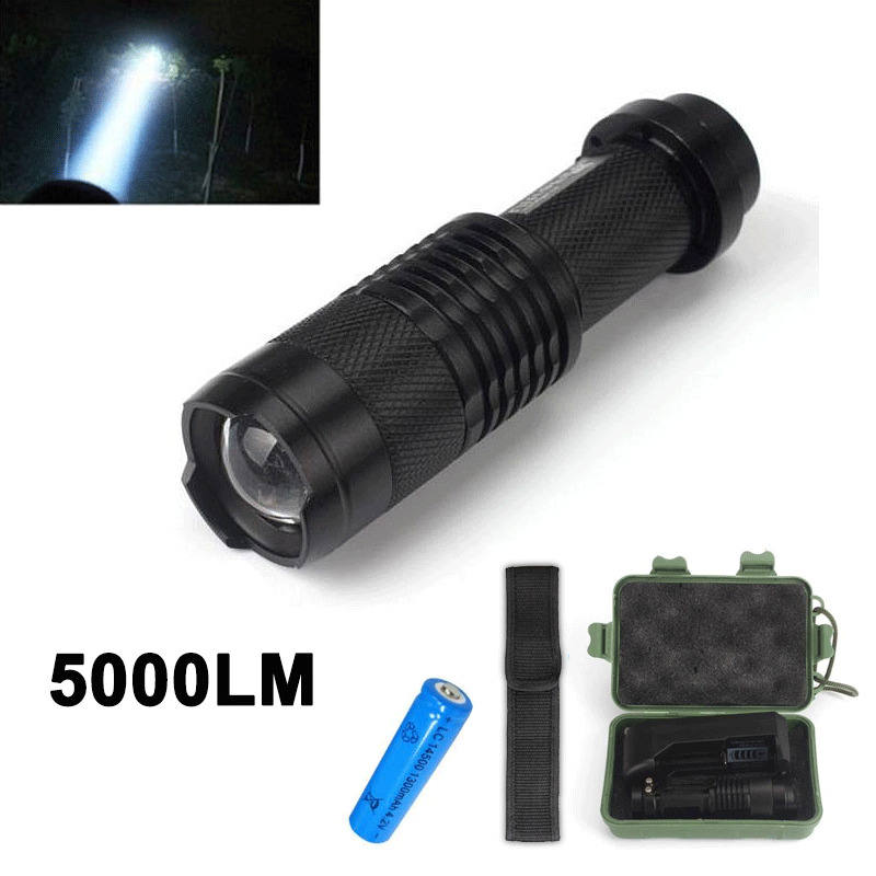 5000 lumens cree xml t6 18650 super bright aluminum led flashlight torch light ebay. Black Bedroom Furniture Sets. Home Design Ideas