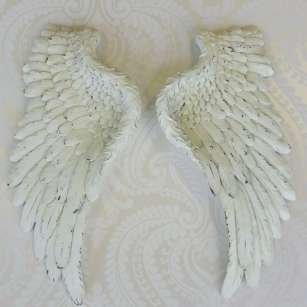 Decorative Wall Hanging Angel Wings : Decorative pair of cream angel wings wall hanging ornament