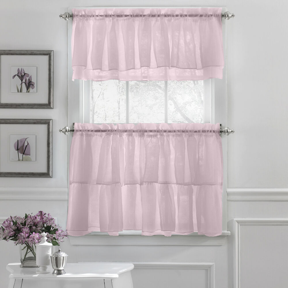 Kitchen Curtains And Valances: Gypsy Crushed Voile Ruffle Kitchen Window Curtain Tiers Or