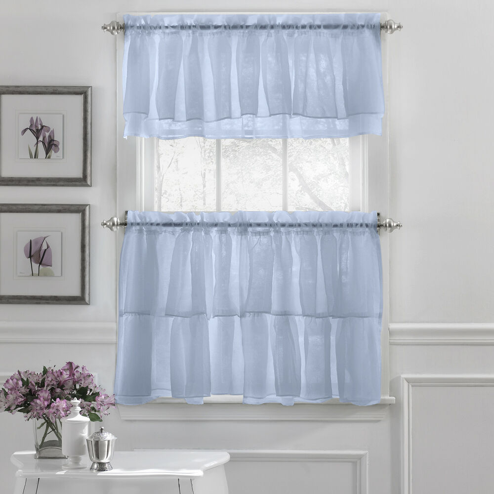Gypsy Crushed Voile Ruffle Kitchen Window Curtain Tiers Or