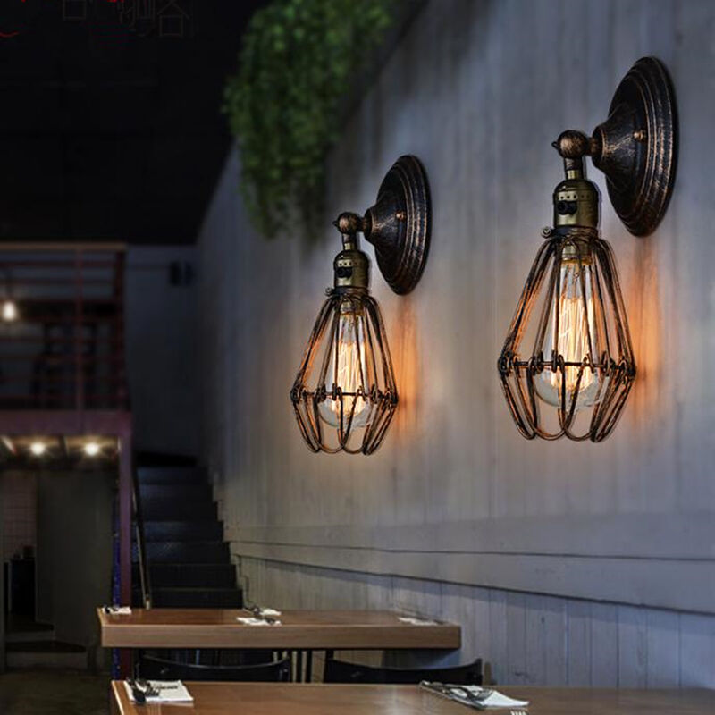 Brown Cage Vintage Wall Light Fixture Indoor Wall Lighting Sconce Edison Globe eBay