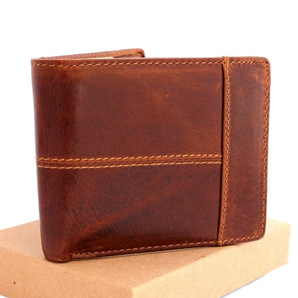 Men 39 s full leather wallet 8 credit card slots 1 id window for 2 id window wallet