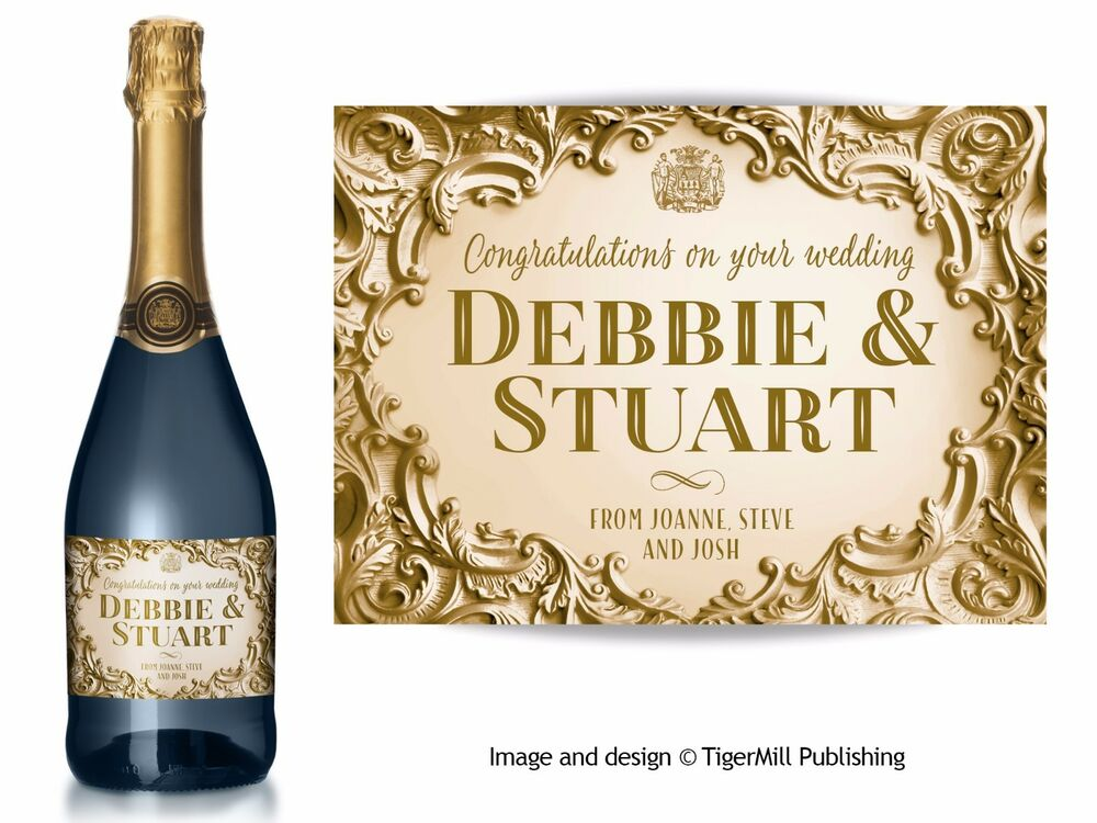 Personalised Wedding Gift Champagne : PERSONALISED gold Champagne label Birthday Anniversary Wedding ...