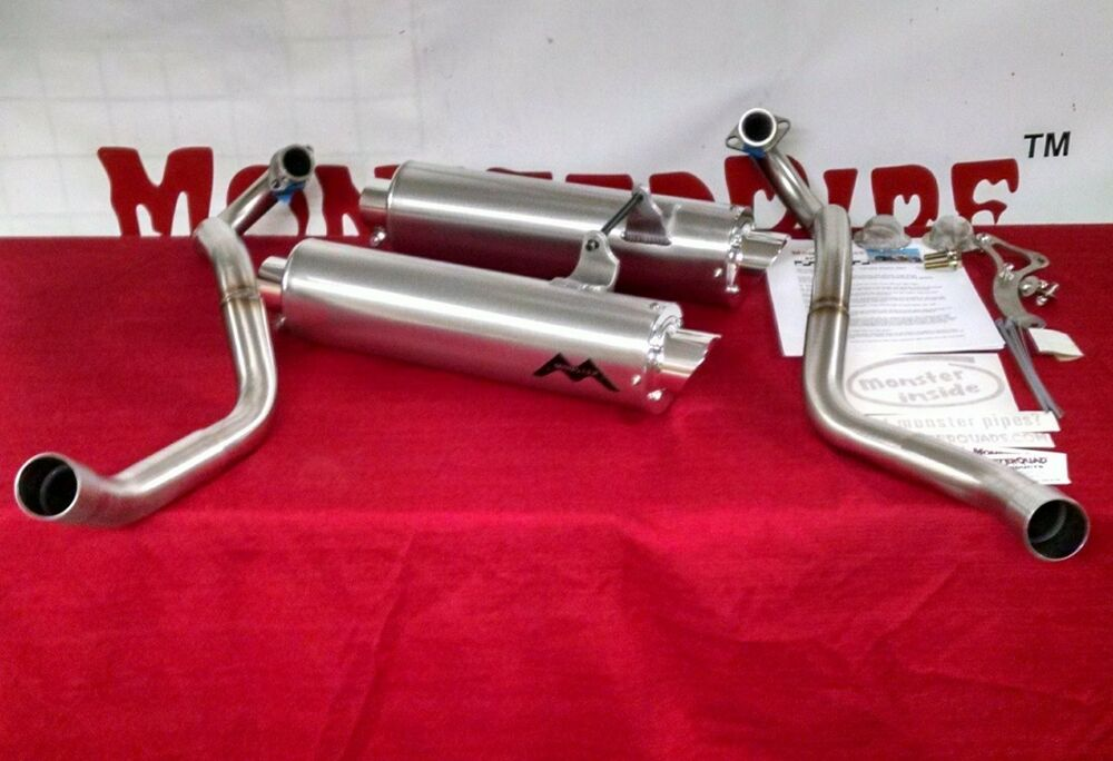 Yamaha raptor 660 dual monsterpipe exhaust system ebay for Yamaha exhaust systems