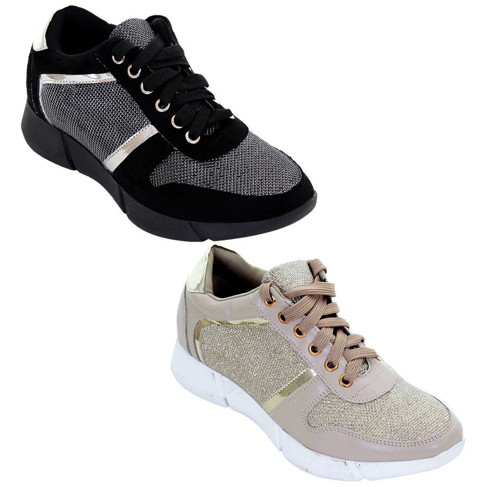 3c8ec94b60c Details about Women s Metallic Glitter Lace Up Sneakers Casual Sport Shiny  Fashion Trainers
