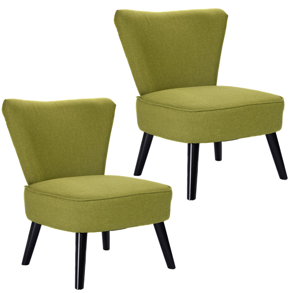 set of 2 armless accent dining chair modern living room furniture fabric wood ebay. Black Bedroom Furniture Sets. Home Design Ideas
