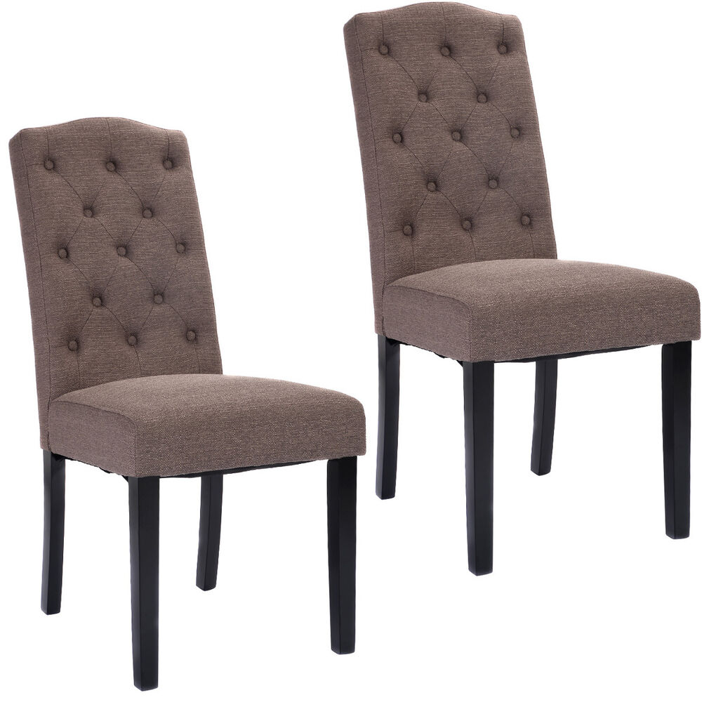 Set Of 2 Dining Chairs: Set Of 2 Fabric Wood Accent Dining Chair Tufted Modern