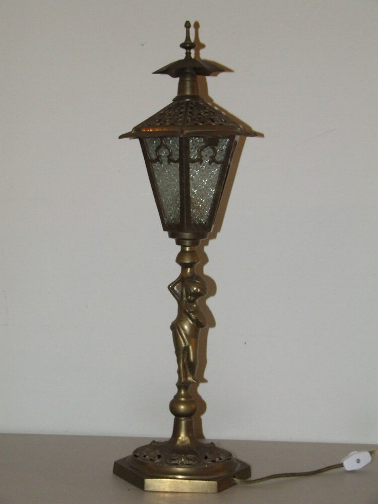antique 21 quot brass figural lantern lamp post slag 87970