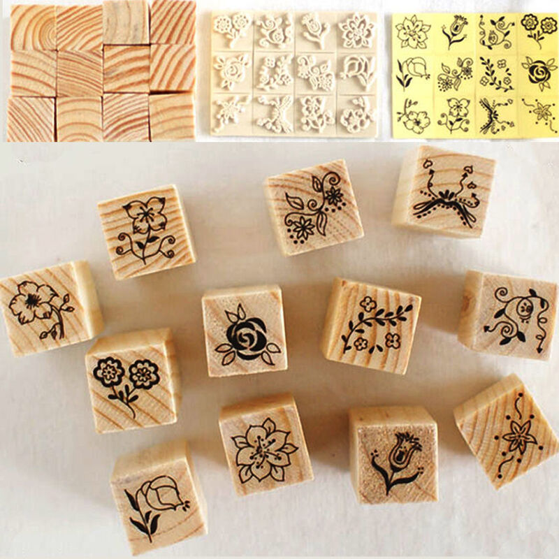 12pcs set retro flower lace wooden rubber stamp letters for Custom craft rubber stamps