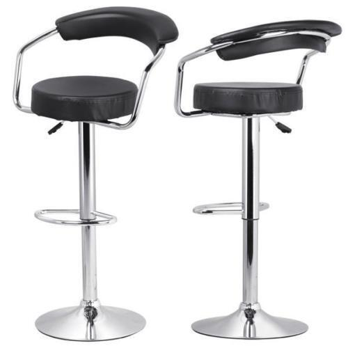 3 Bar Stools High Seat Chairs Adjustable Swivel Counter: 2 PCS Black Modern Adjustable Height Counter Swivel Pub