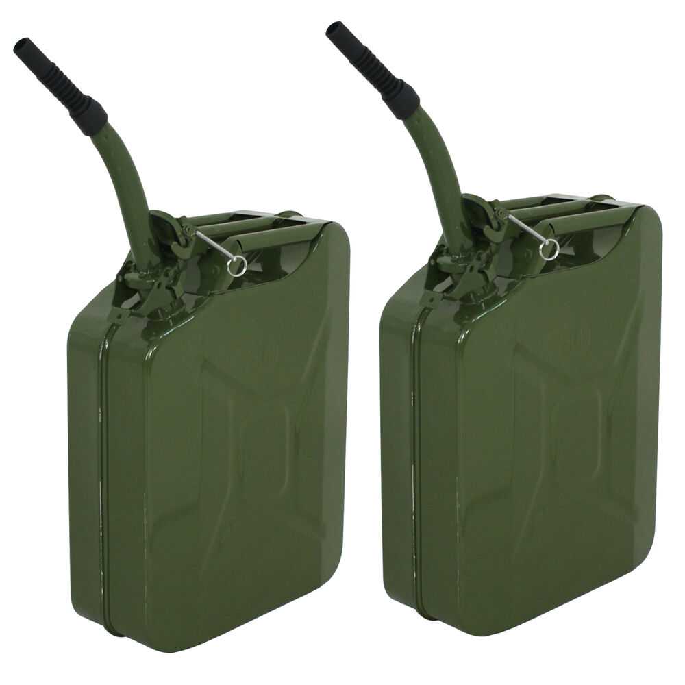 2pc 5 gallon jerry can gas fuel steel green military nato. Black Bedroom Furniture Sets. Home Design Ideas