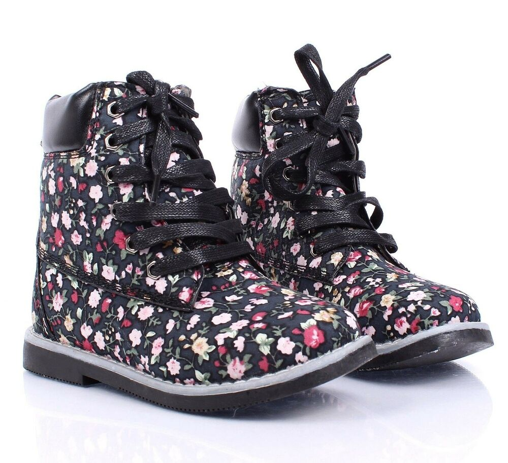 Floral Cute New Lace Up Preschool Girls Military Youth ...
