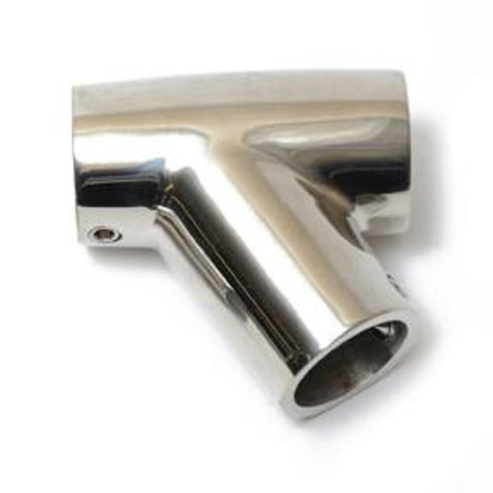 Stainless boat hand rail fitting degree tee quot new ebay