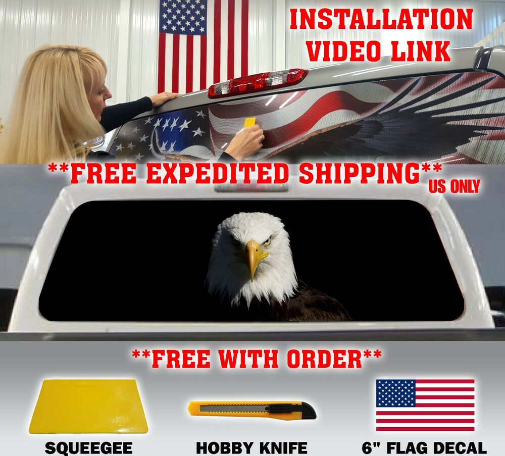 AMERICAN FLAG EAGLE PICKUP TRUCK BACK WINDOW GRAPHIC DECAL - Truck back window picture