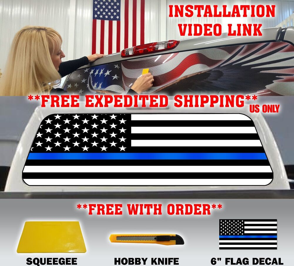 Thin Blue Line Police Support American Flag Pickup Truck