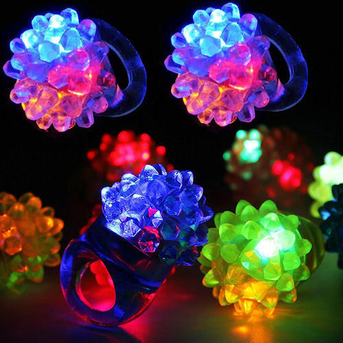10//50 pcs Flashing Color LED Light Up Bumpy Jelly Rubber Rings Finger Rave Party