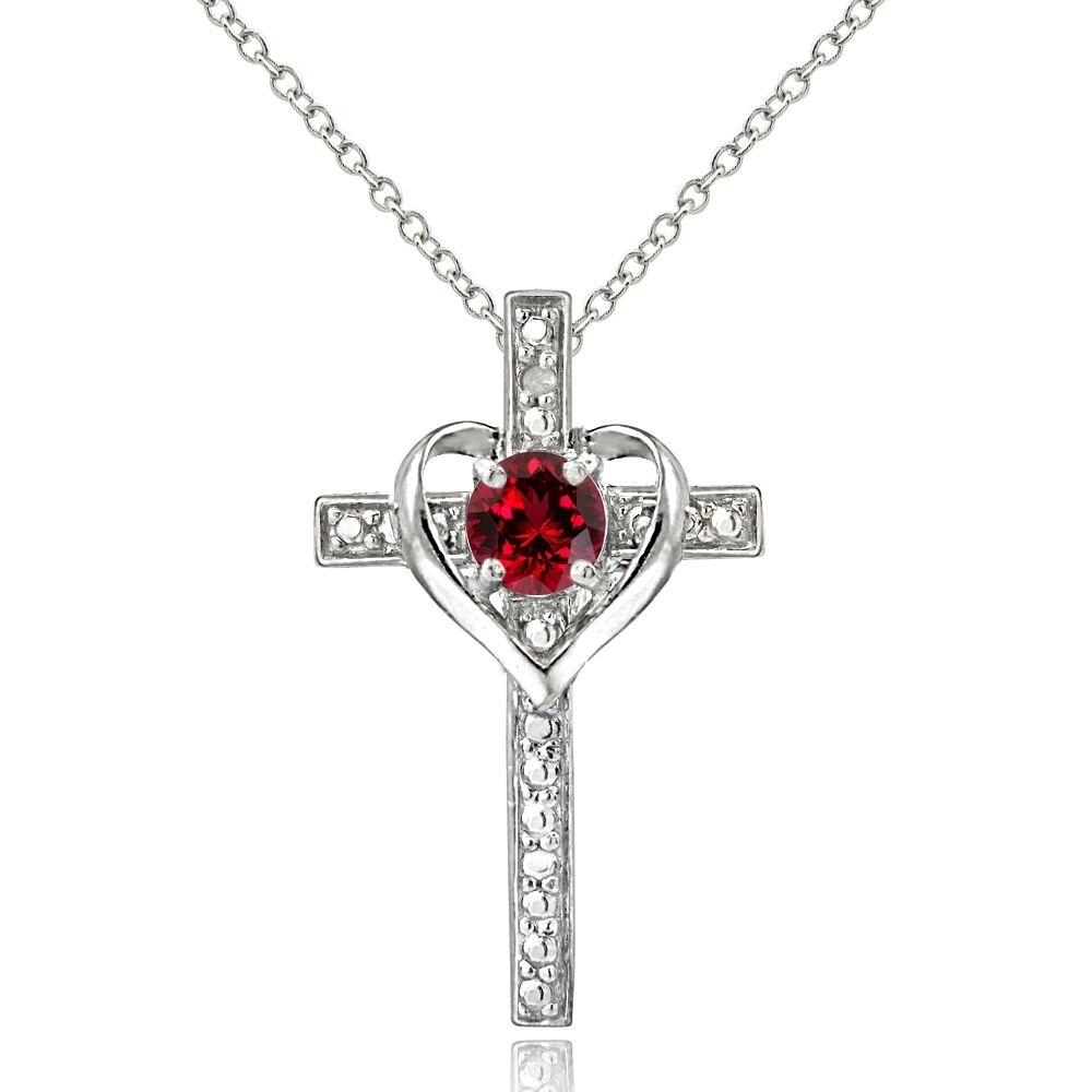 925 sterling silver created ruby diamond accent cross. Black Bedroom Furniture Sets. Home Design Ideas