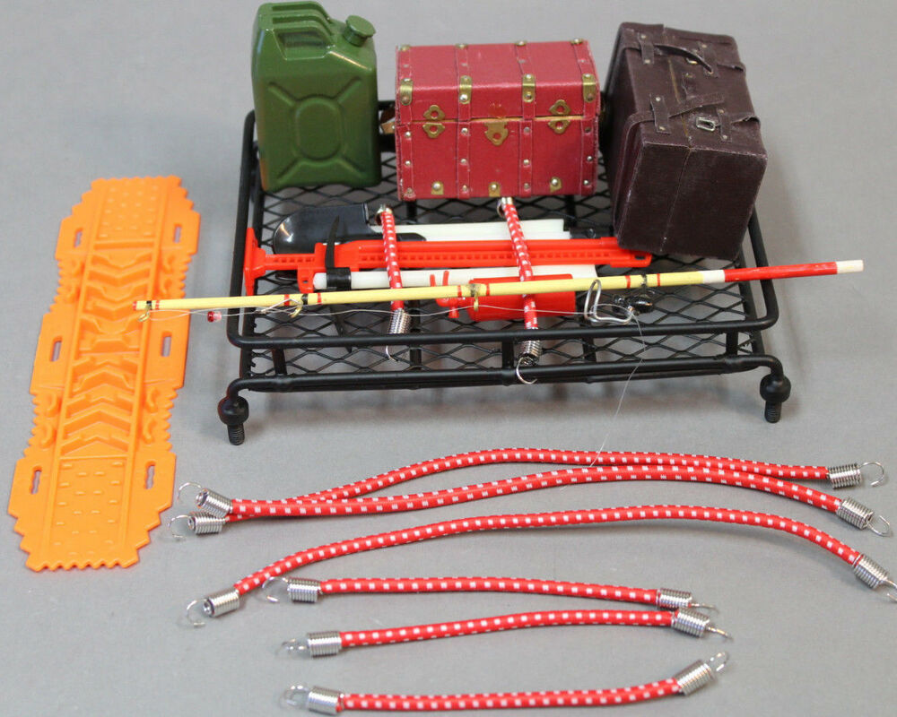 rc scale accessories roof rack w scale tools fishing cargo camping trail ebay. Black Bedroom Furniture Sets. Home Design Ideas