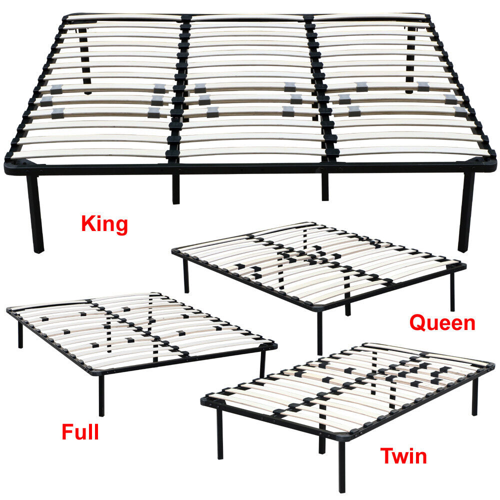 full king queen twin size wood slats metal bed frame platform foundation bedroom ebay. Black Bedroom Furniture Sets. Home Design Ideas