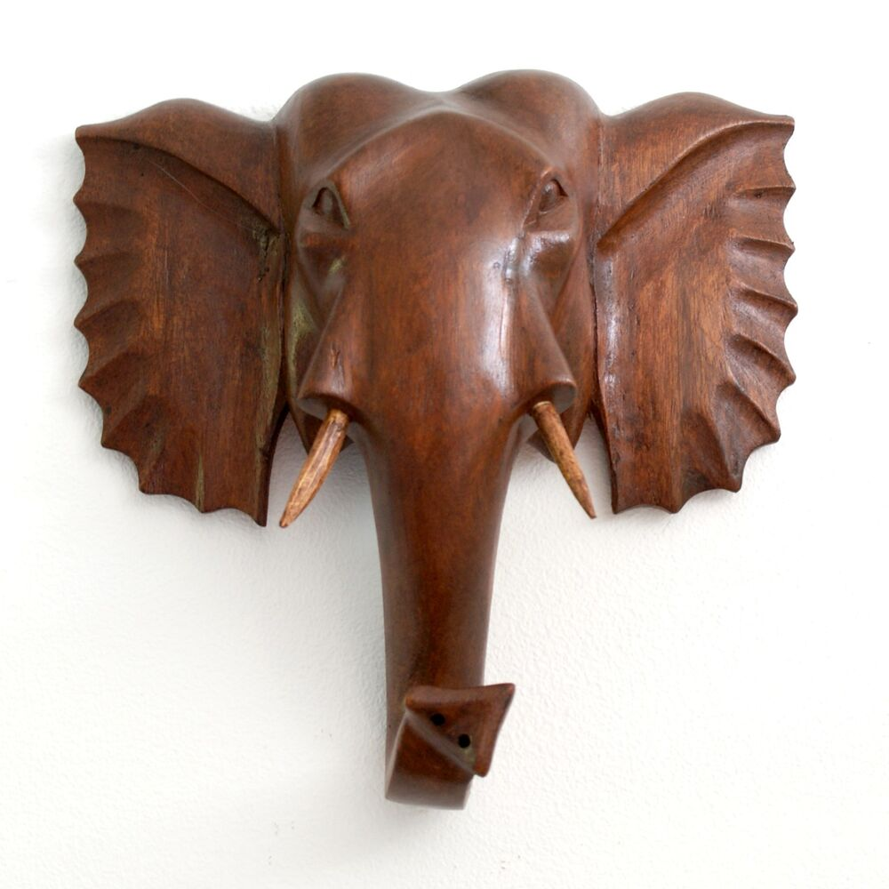 Cms hand carved wooden elephant head wall plaque genuine