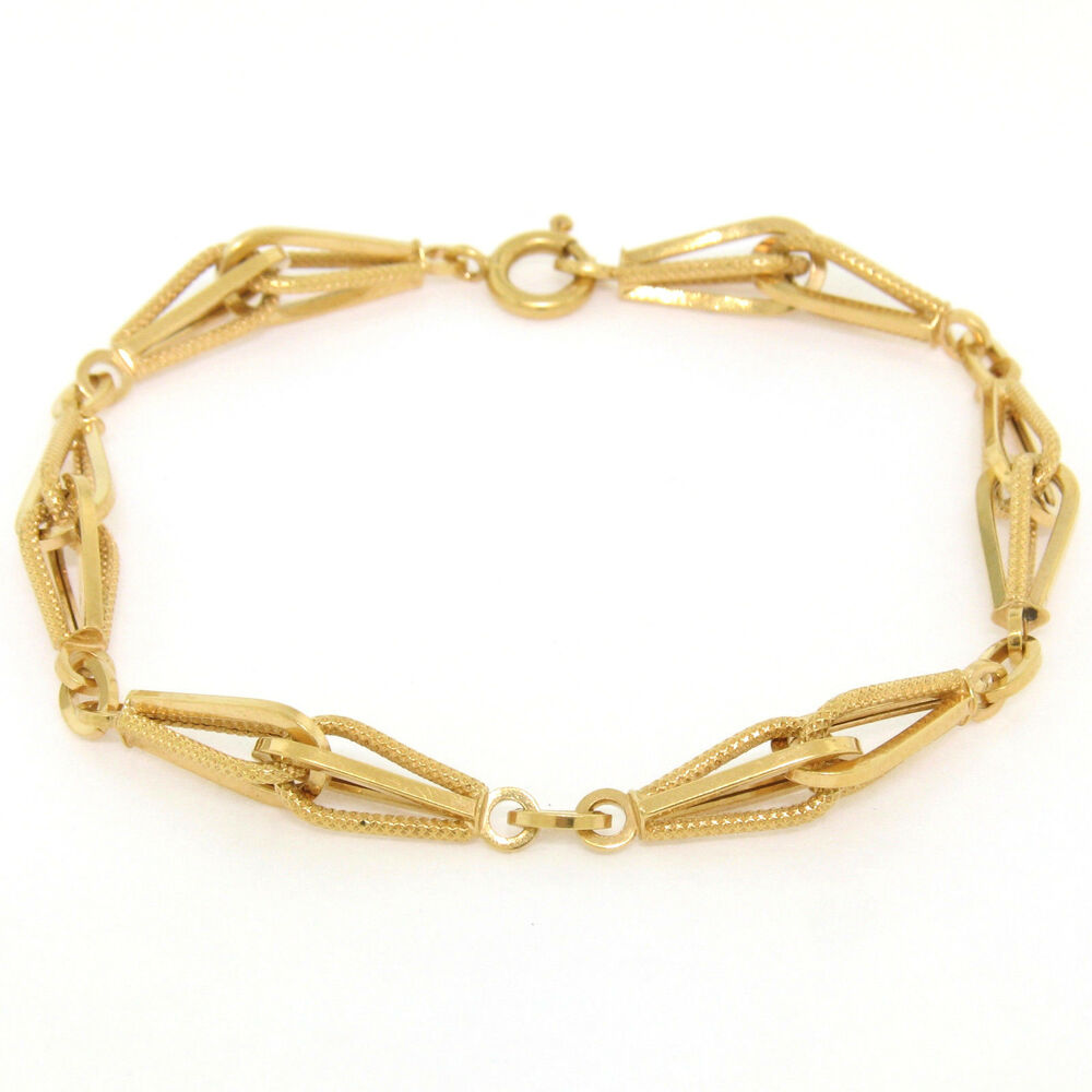 Vintage 18k solid yellow gold 8 polished textured link for What is gold polished jewelry