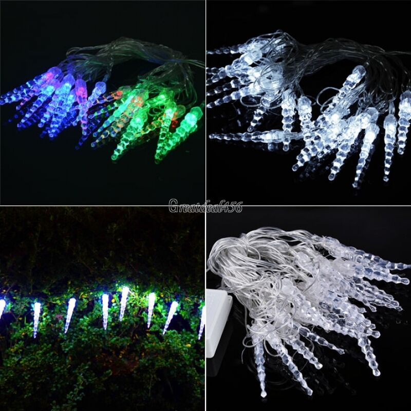 Icicle String Lights Outdoor : 5M 20LED Christmas Icicle String Lights Outdoor Fairy Wedding Party Light Decor eBay