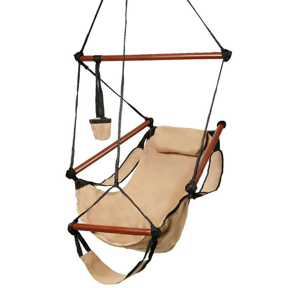 Deluxe air hammock hanging patio tree sky swing chair for Outside porch chairs