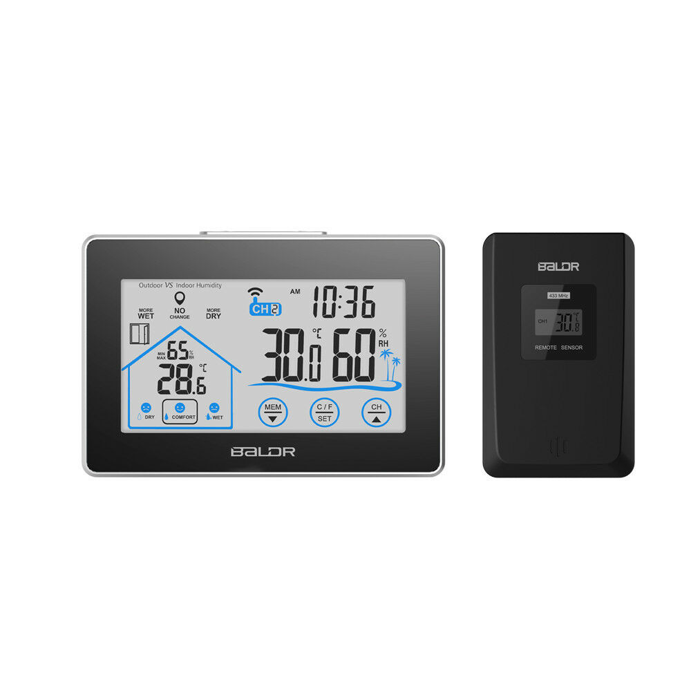 touch screen wireless weather station outdoor thermometer