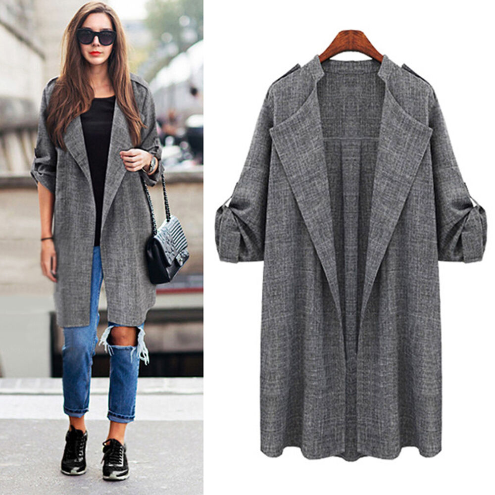 oversize damen herbst mantel revers jacken blazer lang tops cardigan duster coat ebay. Black Bedroom Furniture Sets. Home Design Ideas