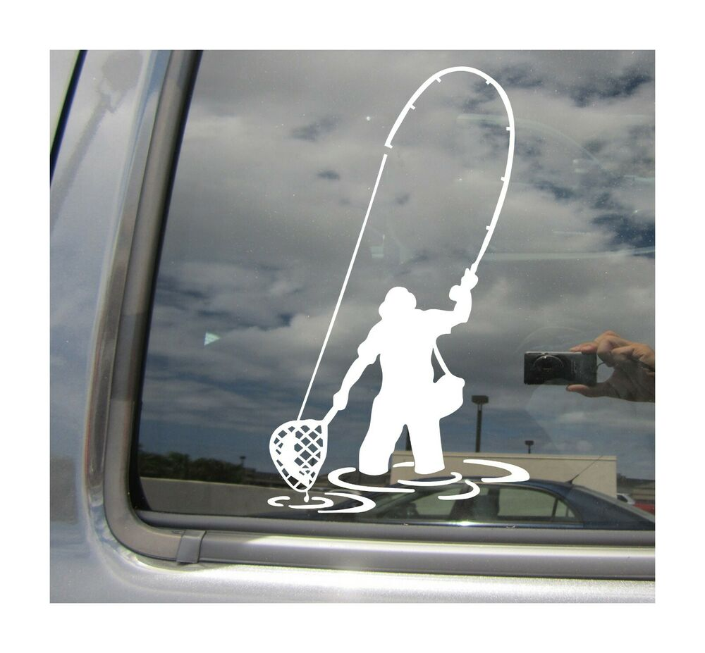 Fly fishing fisherman trout fish car auto window vinyl for Fishing stickers for trucks