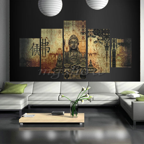 Unframed buddha canvas print wall art ethnic home decor for Picture wall decor
