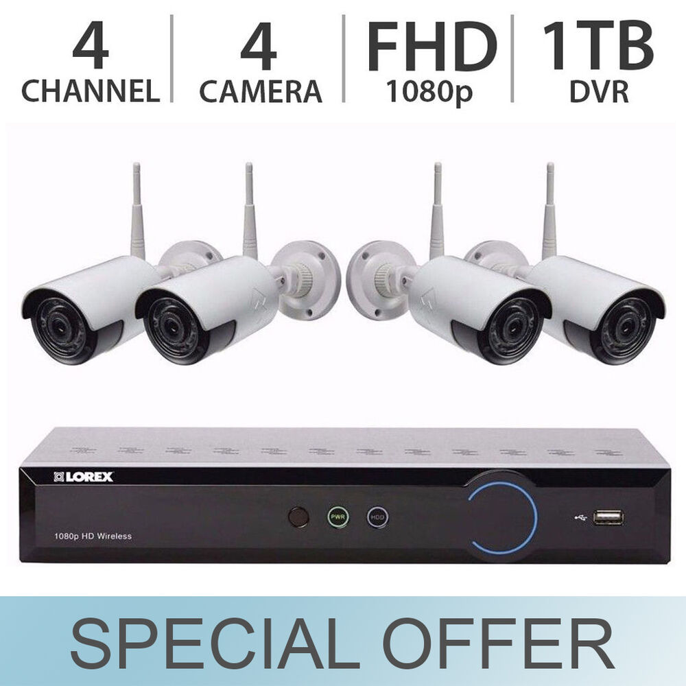 Lorex 4 Channel 4 Camera Wireless Security System With 1tb