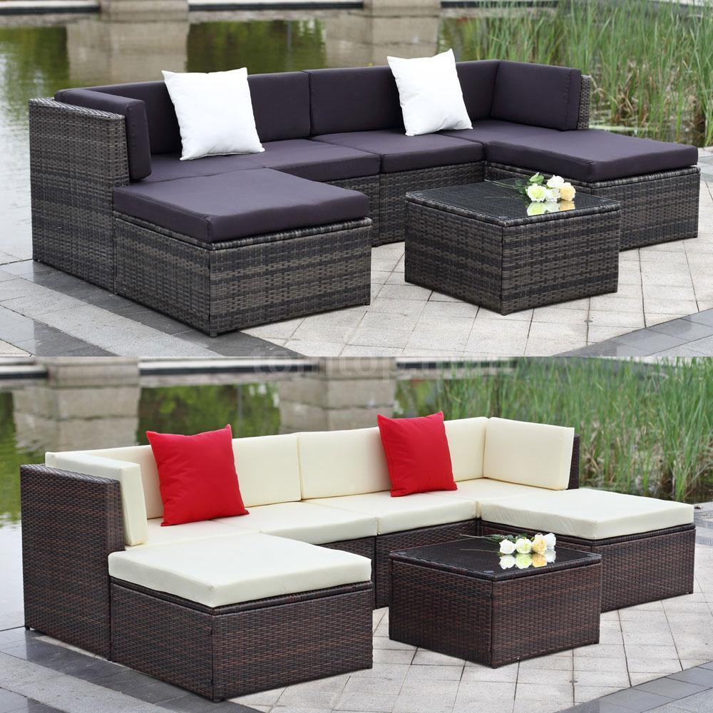 Outdoor Patio Furniture 7pc Multibrown All Weather Wicker: Outdoor Cushioned Wicker Patio Set Garden Lawn Sofa