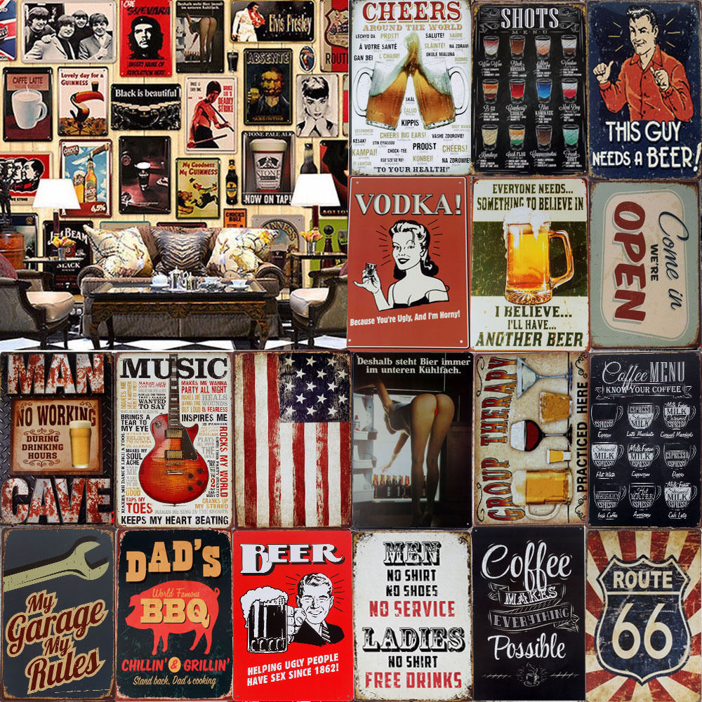 hot metal tin signs vintage plaque club wall decor pub bar home shop poster art ebay. Black Bedroom Furniture Sets. Home Design Ideas