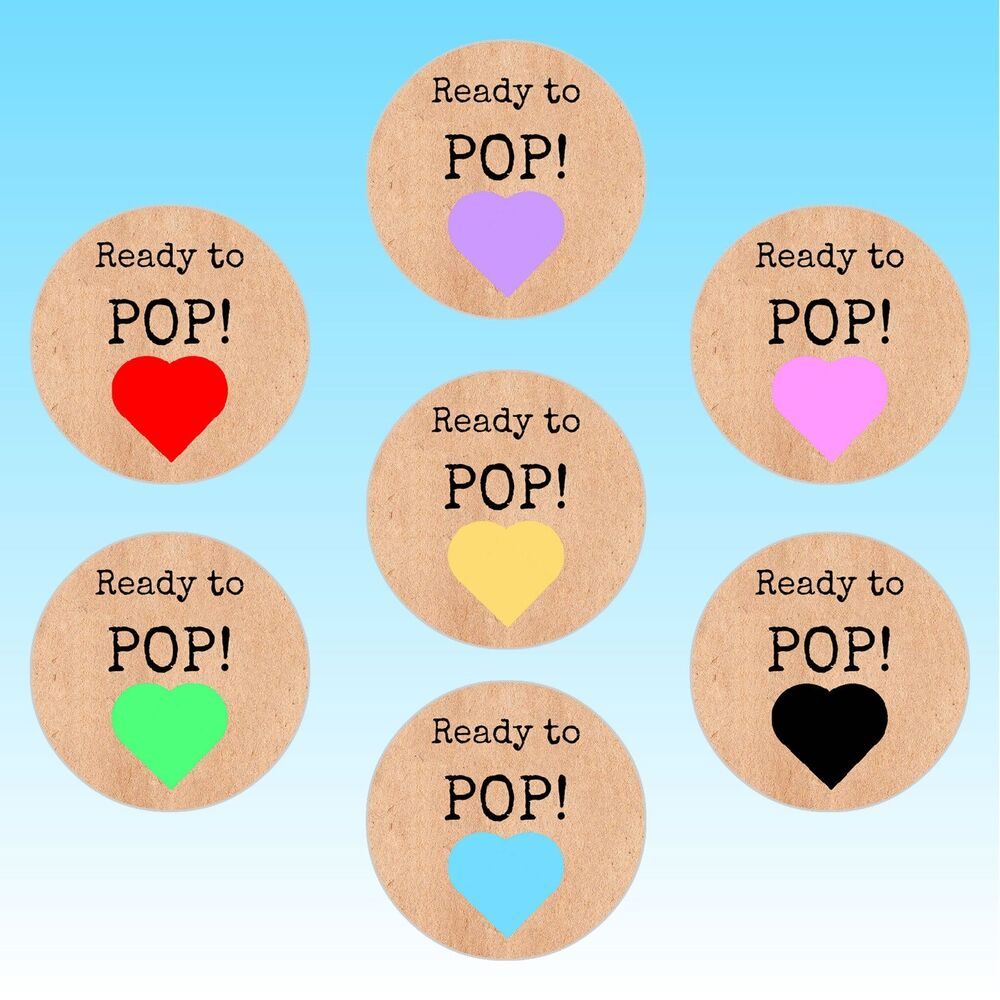 24 round ready to pop heart baby shower stickers shabby vintage labels seals ebay for About to pop labels