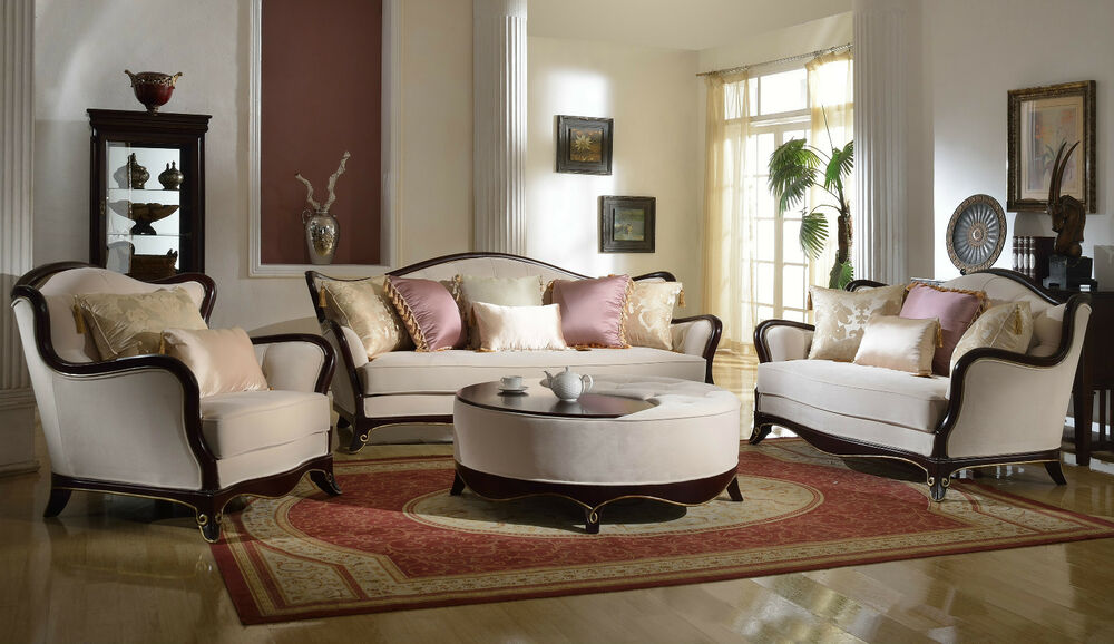 French Provincial Formal Living Room Furniture Set Sofa Loveseat Exposed Wood